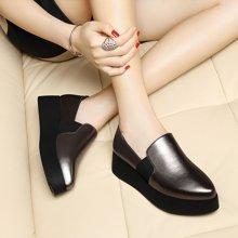 莱卡金顿 2016新款尖头单鞋女高跟厚底休闲鞋英伦鞋女平底鞋 LK/6042