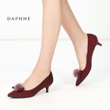 Daphne/达芙妮秋季新款甜美蝴蝶结尖头低跟浅口女单鞋