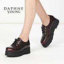 Daphne/达芙妮2016秋季新款复古系带松糕鞋深口厚底平跟女单鞋