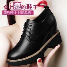 古奇天伦新款女鞋内增高鞋圆头鞋子时尚单鞋春季新款英伦女鞋内增高休闲鞋 TL/8495
