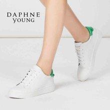 Daphne/达芙妮经典简约平底小白鞋深口系带圆头女单鞋