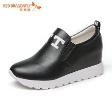红蜻蜓女鞋2016秋季新款百搭时尚内增高休闲鞋深口女单鞋6658