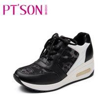 百田森 圆头深口系带中跟牛皮鞋透气网布运动女单鞋PYQ13638