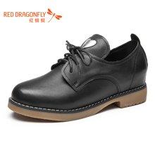 红蜻蜓女鞋 2016新款秋季皮鞋女英伦学院风学生平跟单鞋 6697