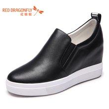 红蜻蜓2016新款小白鞋女秋季时尚百搭厚底休闲鞋内增高乐福鞋6872