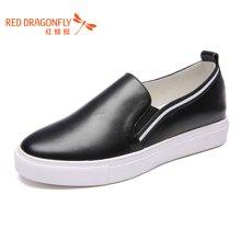 红蜻蜓女鞋2016秋季新款休闲鞋女韩版潮鞋百搭平跟小白鞋6802