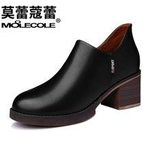 莫蕾蔻蕾女鞋2017秋季新款皮鞋女中跟短靴女 粗跟圆头单鞋70050