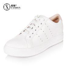 毅雅小白鞋牛皮女鞋平底系带韩版时尚百搭休闲鞋学生白色透气单鞋子