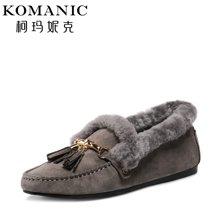 柯玛妮克 新款冬季羊毛女鞋 圆头平底职业棉鞋流苏饰羊猄单鞋K67777