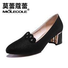 莫蕾蔻蕾2018新款女高跟鞋韩版粗跟尖头百搭性感水钻单鞋  6X303S