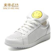 东帝名坊2017春季新款运动鞋女韩版学生系带休闲鞋镂空真皮小白鞋 D6d680M