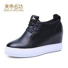 东帝名坊2018新款时尚单鞋 休闲内增高坡跟圆头高跟系带时尚女鞋 D551T39H