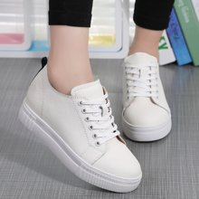 OKKO新款春季内增高小白鞋牛皮平底休闲坡跟乐福鞋厚底单鞋女x2383