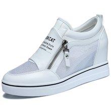古奇天伦 内增高女鞋新款秋季韩版坡跟单鞋休闲鞋厚底增高鞋潮 TL/8394