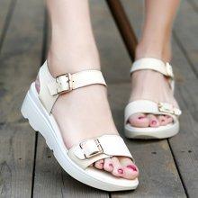 OKKO夏季新款凉鞋女坡跟防水台休闲真皮女鞋女士厚底露趾厚底凉鞋X1523