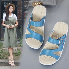 OKKO女夏季拖鞋女士一字拖凉鞋女鞋真皮室外坡跟时尚凉拖鞋女厚底X859-1