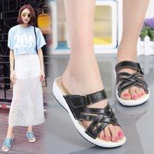 OKKO女夏季拖鞋女士一字拖凉鞋女鞋真皮室外坡跟时尚凉拖鞋女厚底X857