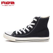 HOZ 美国后街官方小白鞋女经典款高帮帆布鞋女鞋 平底运动情侣鞋JCAL32N83