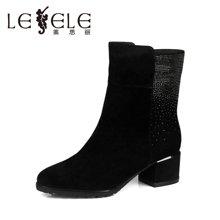 LESELE/莱思丽 冬季优雅水钻羊皮女靴 防水台粗跟中筒靴KE51-LD3145
