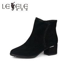 LESELE/莱思丽冬季新款羊皮女短靴 简约烫钻舒适粗方跟短靴KE51-LD3142
