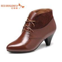 红蜻蜓女鞋 秋季正品时尚粗跟高跟尖头系带女单鞋3511