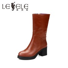 LESELE/莱思丽 冬款休闲牛皮女靴 防水台粗跟高跟女鞋中筒靴KE51-LD0665