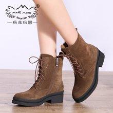 玛菲玛图秋冬季新款系带马丁靴女英伦风粗跟短靴女靴子潮时尚欧美女鞋26712-2