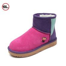 100KM&PF 新款冬季雪地靴保暖加绒 平底棉靴女拼色短靴KXL6854N