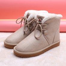 100KM&PF 16加绒短靴女高帮系带保暖棉鞋女平底加厚女靴子KXQ101