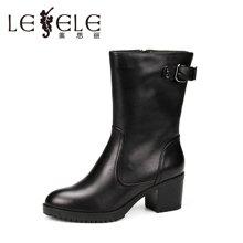 LESELE/莱思丽新款冬季休闲女鞋 防水台皮带扣粗高跟加绒中筒靴YR61-LD0220