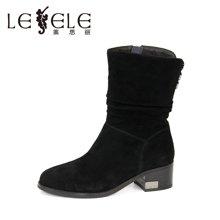 LESELE/莱思丽冬季新款舒适休闲女鞋 圆头拉链羊京中粗跟中筒靴KE61-LD9518