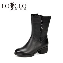 LESELE/莱思丽冬季新款牛皮女靴子潮流女鞋 休闲拉链粗跟中筒靴SZJ61-LD0182
