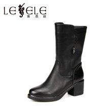 LESELE/莱思丽冬新款女靴潮流职业女鞋 休闲防水台粗高跟中筒靴SZJ61-LD0121