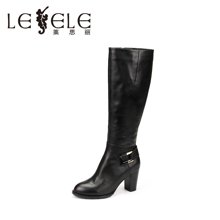 LESELE/莱思丽新款冬季搭扣牛皮女鞋 圆头粗跟职业靴高跟长靴KE61-LD1578