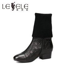 LESELE/莱思丽新款冬季牛皮女鞋 圆头粗跟职业靴高跟毛线中筒靴YR61-LD1740