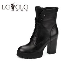 LESELE/莱思丽新款冬季牛皮女靴 圆头粗高跟短靴防水台时尚靴KE61-LD1244