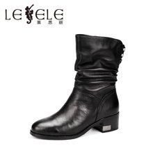 LESELE/莱思丽冬季新款舒适休闲女鞋 圆头拉链牛皮中粗跟中筒靴KE61-LD9517