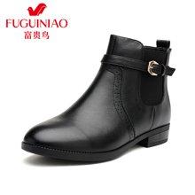 富贵鸟(FUGUINIAO) 冬季新款 头层牛皮小尖头舒适粗跟侧拉链女短靴金属扣装饰鞋子 G59S796C