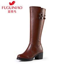 富贵鸟(FUGUINIAO)冬季加绒长筒靴英伦骑士高筒靴女鞋 G49S658CPC