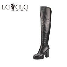 LESELE/莱思丽新款冬季时尚牛皮女鞋 圆头拉链优雅防水台长靴KE61-LD1240