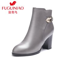 富贵鸟女短靴冬季新品女鞋时尚头层牛皮保暖绒里女士高跟短靴粗跟鞋 G69S931CC