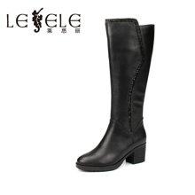 LESELE/莱思丽新款冬季优雅牛皮女鞋 圆头粗跟加绒靴高跟长靴KE61-LD0135