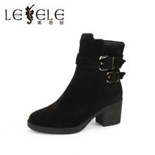 LESELE/莱思丽新款冬季牛京女鞋 粗高跟职业靴拉链加绒女短靴KE61-LD0133