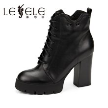 LESELE/莱思丽新款冬季牛皮女靴 圆头防水台粗高跟短靴时装靴KE61-LD1242