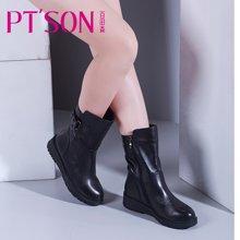 百田森 新款冬季中筒靴厚底防水台雪地靴保暖牛皮女鞋子PYQ13887