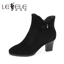 LESELE/莱思丽新款冬季拉链羊皮女鞋 圆头粗跟职业靴高跟短靴EZ61-LD6146