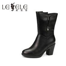 LESELE/莱思丽冬季牛皮休闲女靴 侧拉链圆头加绒粗跟高跟中筒靴YR61-LD0219