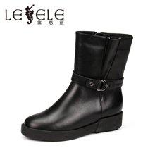 LESELE/莱思丽新款冬季牛皮女鞋子 圆头低跟舒适靴拉链中筒靴女YR61-LD0229