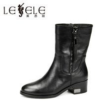 LESELE/莱思丽冬季新款舒适休闲女鞋 圆头拉链牛皮中粗跟中筒靴KE61-LD9524