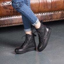 玛菲玛图秋冬休闲靴马丁靴女英伦复古擦色文艺风短靴女前系带单靴子362-5L